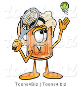 Illustration of a Beer Mug Mascot Preparing to Hit a Tennis Ball by Toons4Biz
