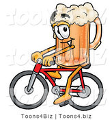 Illustration of a Beer Mug Mascot Riding a Bicycle by Toons4Biz