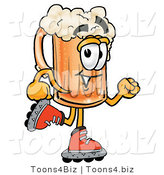 Illustration of a Beer Mug Mascot Roller Blading on Inline Skates by Toons4Biz