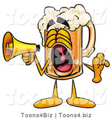 Illustration of a Beer Mug Mascot Screaming into a Megaphone by Toons4Biz