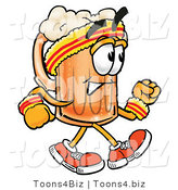 Illustration of a Beer Mug Mascot Speed Walking or Jogging by Toons4Biz