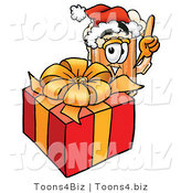 Illustration of a Beer Mug Mascot Standing by a Christmas Present by Toons4Biz
