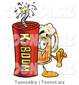 Illustration of a Beer Mug Mascot Standing with a Lit Stick of Dynamite by Toons4Biz