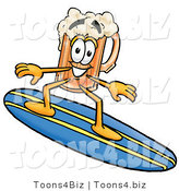 Illustration of a Beer Mug Mascot Surfing on a Blue and Yellow Surfboard by Toons4Biz