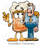 Illustration of a Beer Mug Mascot Talking to a Business Man by Toons4Biz