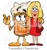 Illustration of a Beer Mug Mascot Talking to a Pretty Blond Woman by Toons4Biz