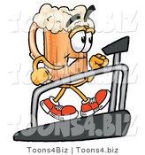 Illustration of a Beer Mug Mascot Walking on a Treadmill in a Fitness Gym by Toons4Biz