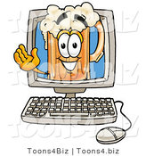 Illustration of a Beer Mug Mascot Waving from Inside a Computer Screen by Toons4Biz