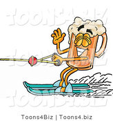 Illustration of a Beer Mug Mascot Waving While Passing by on Water Skis by Toons4Biz