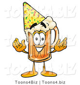 Illustration of a Beer Mug Mascot Wearing a Birthday Party Hat by Toons4Biz