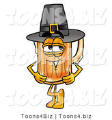 Illustration of a Beer Mug Mascot Wearing a Pilgrim Hat on Thanksgiving by Toons4Biz