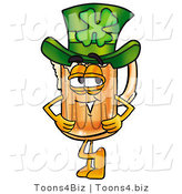 Illustration of a Beer Mug Mascot Wearing a Saint Patricks Day Hat with a Clover on It by Toons4Biz