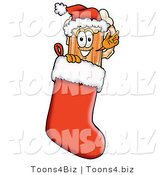 Illustration of a Beer Mug Mascot Wearing a Santa Hat Inside a Red Christmas Stocking by Toons4Biz