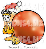 Illustration of a Beer Mug Mascot Wearing a Santa Hat, Standing with a Christmas Bauble by Toons4Biz