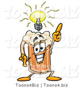 Illustration of a Beer Mug Mascot with a Bright Idea by Toons4Biz