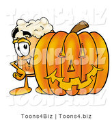 Illustration of a Beer Mug Mascot with a Carved Halloween Pumpkin by Toons4Biz