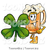 Illustration of a Beer Mug Mascot with a Green Four Leaf Clover on St Paddy's or St Patricks Day by Toons4Biz