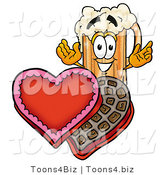 Illustration of a Beer Mug Mascot with an Open Box of Valentines Day Chocolate Candies by Toons4Biz