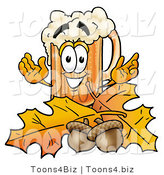 Illustration of a Beer Mug Mascot with Autumn Leaves and Acorns in the Fall by Toons4Biz
