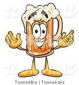 Illustration of a Beer Mug Mascot with Welcoming Open Arms by Toons4Biz