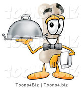 Illustration of a Bone Mascot Dressed As a Waiter and Holding a Serving Platter by Toons4Biz