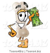 Illustration of a Bone Mascot Holding a Dollar Bill by Toons4Biz