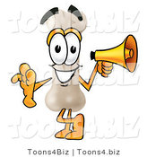 Illustration of a Bone Mascot Holding a Megaphone by Toons4Biz