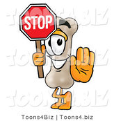 Illustration of a Bone Mascot Holding a Stop Sign by Toons4Biz