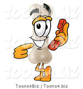 Illustration of a Bone Mascot Holding a Telephone by Toons4Biz