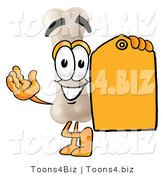 Illustration of a Bone Mascot Holding a Yellow Sales Price Tag by Toons4Biz