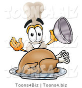 Illustration of a Bone Mascot Serving a Thanksgiving Turkey on a Platter by Toons4Biz