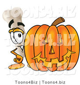 Illustration of a Bone Mascot with a Carved Halloween Pumpkin by Toons4Biz