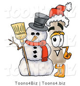 Illustration of a Bone Mascot with a Snowman on Christmas by Toons4Biz