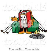 Illustration of a Book Mascot Camping with a Tent and Fire by Toons4Biz