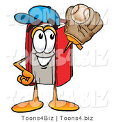 Illustration of a Book Mascot Catching a Baseball with a Glove by Toons4Biz