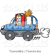 Illustration of a Book Mascot Driving a Blue Car and Waving by Toons4Biz