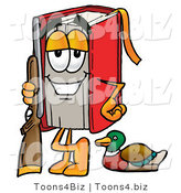 Illustration of a Book Mascot Duck Hunting, Standing with a Rifle and Duck by Toons4Biz