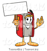 Illustration of a Book Mascot Holding a Blank Sign by Toons4Biz