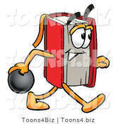 Illustration of a Book Mascot Holding a Bowling Ball by Toons4Biz