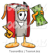Illustration of a Book Mascot Holding a Dollar Bill by Toons4Biz