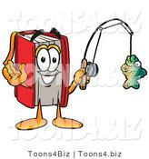 Illustration of a Book Mascot Holding a Fish on a Fishing Pole by Toons4Biz