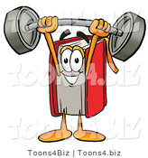 Illustration of a Book Mascot Holding a Heavy Barbell Above His Head by Toons4Biz