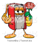 Illustration of a Book Mascot Holding a Red Rose on Valentines Day by Toons4Biz