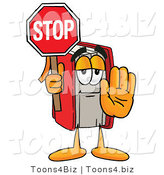 Illustration of a Book Mascot Holding a Stop Sign by Toons4Biz