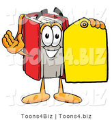 Illustration of a Book Mascot Holding a Yellow Sales Price Tag by Toons4Biz