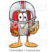 Illustration of a Book Mascot in a Helmet, Holding a Football by Toons4Biz