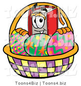 Illustration of a Book Mascot in an Easter Basket Full of Decorated Easter Eggs by Toons4Biz