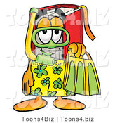 Illustration of a Book Mascot in Green and Yellow Snorkel Gear by Toons4Biz