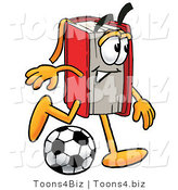 Illustration of a Book Mascot Kicking a Soccer Ball by Toons4Biz