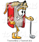 Illustration of a Book Mascot Leaning on a Golf Club While Golfing by Toons4Biz